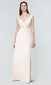 Image of deep-v-back long bridesmaid dress by Kleinfeld. Style: KL-200172 Detail Image 3