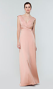 Image of deep-v-back long bridesmaid dress by Kleinfeld. Style: KL-200172 Detail Image 2