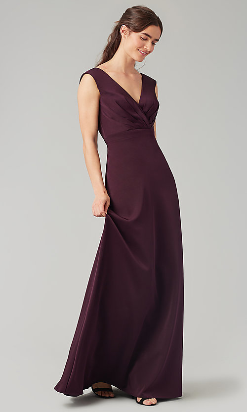 Image of deep-v-back long bridesmaid dress by Kleinfeld. Style: KL-200172 Front Image