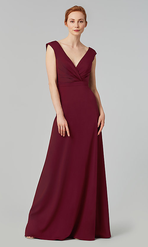 Image of deep-v-back long bridesmaid dress by Kleinfeld. Style: KL-200172 Detail Image 4