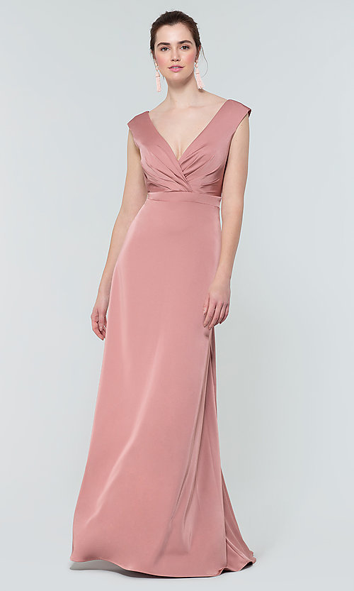 Image of deep-v-back long bridesmaid dress by Kleinfeld. Style: KL-200172 Detail Image 6