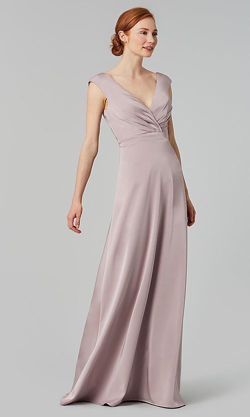 Image of deep-v-back long bridesmaid dress by Kleinfeld. Style: KL-200172 Detail Image 8