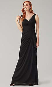 Image of wrap-style long bridesmaid dress. Style: KL-200183 Detail Image 1