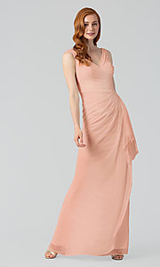 Image of wrap-style long bridesmaid dress. Style: KL-200183 Detail Image 3