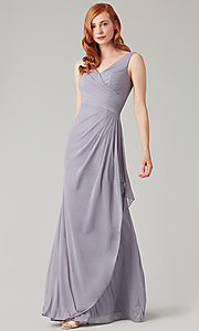 Image of wrap-style long bridesmaid dress. Style: KL-200183 Detail Image 6