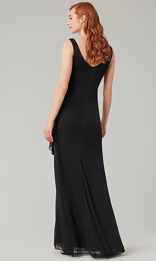Image of wrap-style long bridesmaid dress. Style: KL-200183 Detail Image 2
