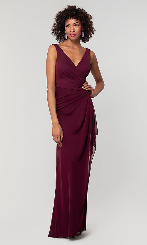 Image of wrap-style long bridesmaid dress. Style: KL-200183 Detail Image 8