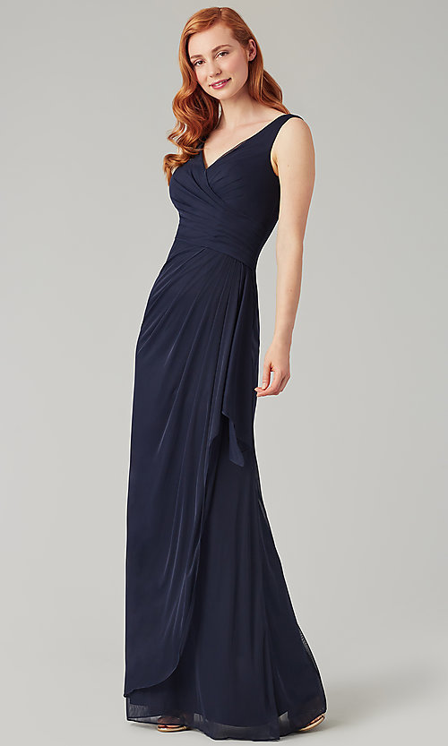 Image of wrap-style long bridesmaid dress. Style: KL-200183 Front Image