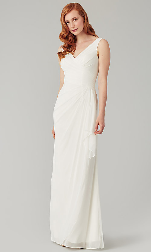 Image of wrap-style long bridesmaid dress. Style: KL-200183 Detail Image 4