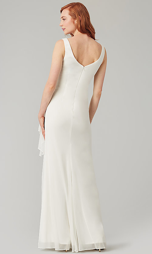 Image of wrap-style long bridesmaid dress. Style: KL-200183 Detail Image 5