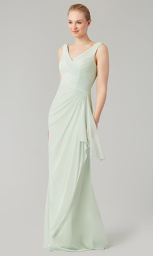 Image of wrap-style long bridesmaid dress. Style: KL-200183 Detail Image 7