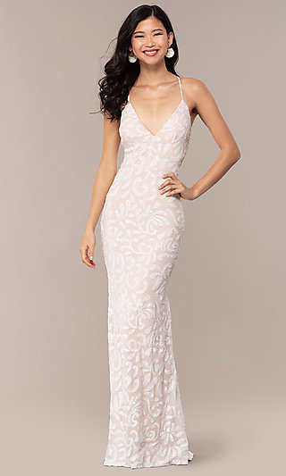 Ivory White Sequin-Mesh Long Sexy Formal Dress