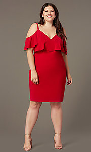 Image of cold-shoulder knee-length plus wedding-guest dress. Style: EM-FRD-P-3405-600 Front Image