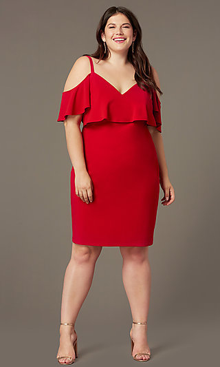 Cold-Shoulder Knee-Length Plus Wedding-Guest Dress