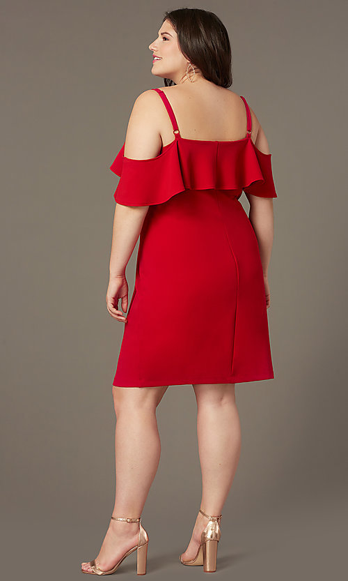 Image of cold-shoulder knee-length plus wedding-guest dress. Style: EM-FRD-P-3405-600 Back Image