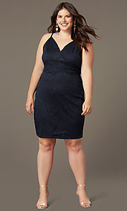 Image of plus-size short party dress in navy blue lace. Style: EM-FRI-P-4221-430 Front Image