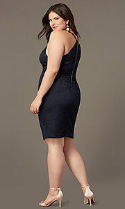 Image of plus-size short party dress in navy blue lace. Style: EM-FRI-P-4221-430 Back Image