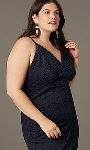 Image of plus-size short party dress in navy blue lace. Style: EM-FRI-P-4221-430 Detail Image 1