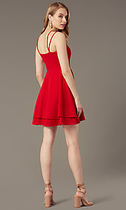 Image of tiered-skirt short red wedding-guest dress. Style: DMO-J324329 Back Image