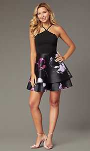 Image of v-back short party dress with tiered print skirt. Style: SS-D71912QAA Detail Image 1