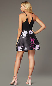 Image of v-back short party dress with tiered print skirt. Style: SS-D71912QAA Back Image