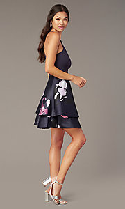 Image of v-back short party dress with tiered print skirt. Style: SS-D71912QAA Detail Image 5