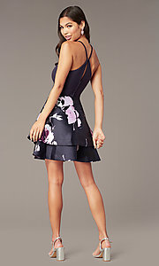 Image of v-back short party dress with tiered print skirt. Style: SS-D71912QAA Detail Image 4