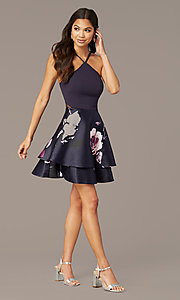 Image of v-back short party dress with tiered print skirt. Style: SS-D71912QAA Detail Image 3