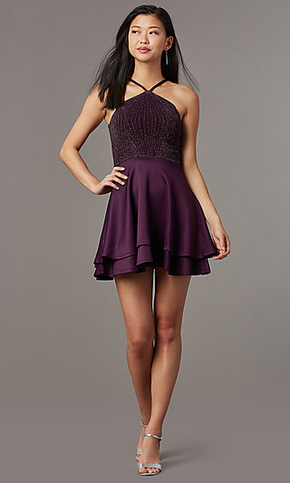 Glitter Knit Bodice Short Semi-Formal Party Dress