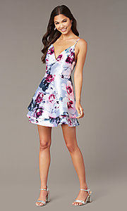 Image of short floral-print satin graduation party dress. Style: SS-D76652QBD Front Image