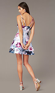 Image of short floral-print satin graduation party dress. Style: SS-D76652QBD Back Image