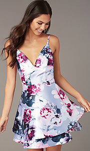 Image of short floral-print satin graduation party dress. Style: SS-D76652QBD Detail Image 1
