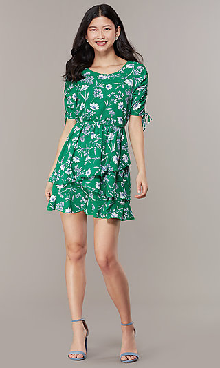 Floral Print Short Tiered Casual Party Dress