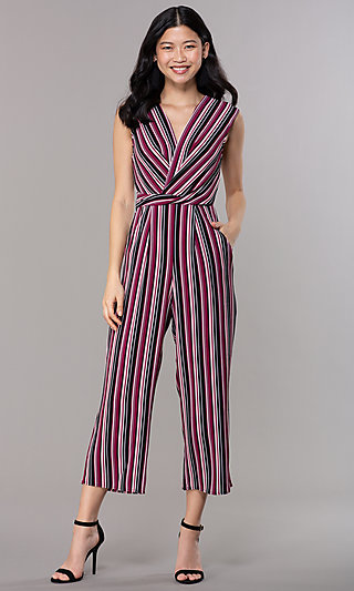 Striped Jumpsuit with Cropped Legs for Parties