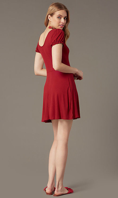 Image of Chianti red ribbed-knit casual party short dress. Style: SS-JA35641F100 Back Image