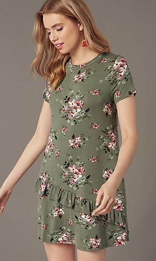 Floral-Print Short Shift Party Dress with Ruffle