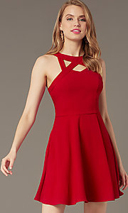 Image of cherry red short party dress with pockets. Style: SS-D74484GKW Front Image