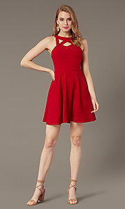 Image of cherry red short party dress with pockets. Style: SS-D74484GKW Detail Image 1