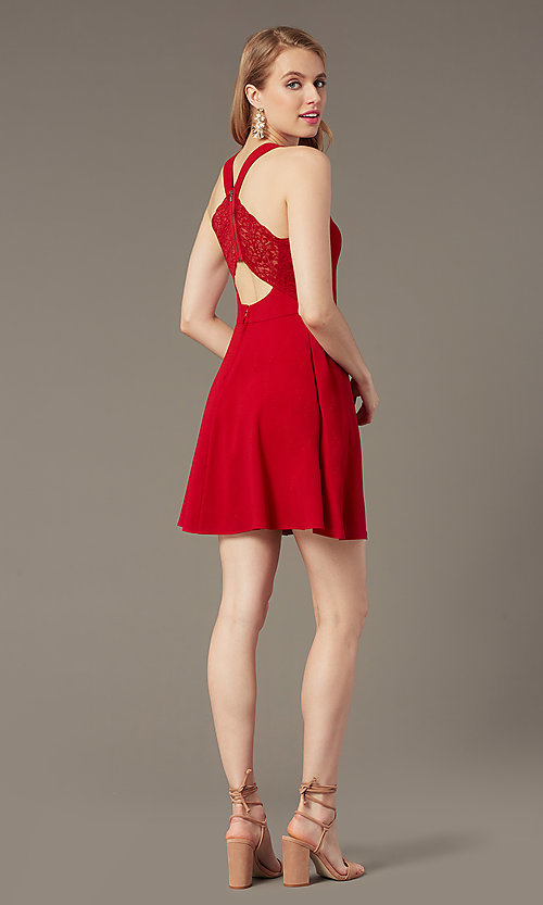 Image of cherry red short party dress with pockets. Style: SS-D74484GKW Back Image
