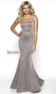 Image of Blush long mermaid-style shimmer formal dress. Style: BL-11739 Detail Image 7