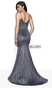 Image of Blush long mermaid-style shimmer formal dress. Style: BL-11739 Detail Image 4