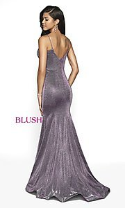 Image of Blush long mermaid-style shimmer formal dress. Style: BL-11739 Back Image