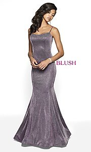 Image of Blush long mermaid-style shimmer formal dress. Style: BL-11739 Detail Image 2