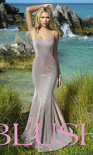 Blush Long Mermaid-Style Shimmer Formal Dress