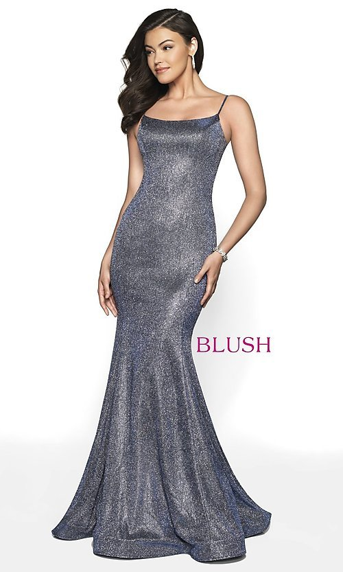 Image of Blush long mermaid-style shimmer formal dress. Style: BL-11739 Detail Image 3