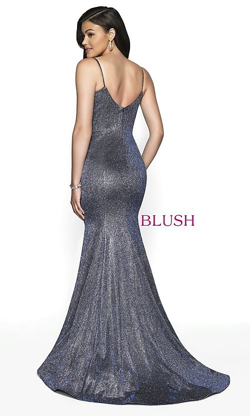 Image of Blush long mermaid-style shimmer formal dress. Style: BL-11739 Detail Image 6