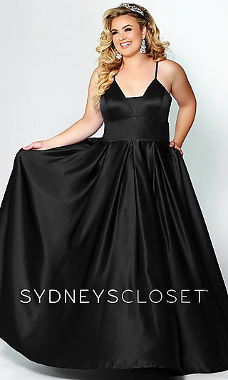 A-Line Satin Women's Formal Gown with Pockets