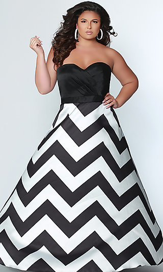 Long Striped Women's Formal Gown by Sydney's Closet