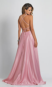 Image of open-back formal prom dress by Dave & Johnny. Style: DJ-A6690 Back Image