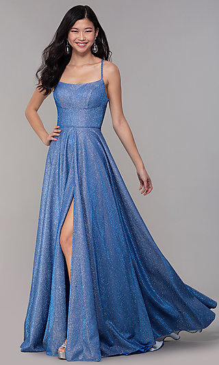 Sapphire Blue Glitter-Knit Long Formal Prom Dress